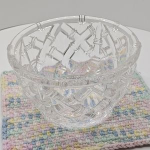 TIFFANY & CO. Crystal Bowl Bamboo Basket Weave